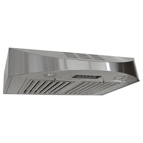 KOBE CHX3830SQBD-3 Brillia 30-inch Ductless Under Cabinet Range Hood, 3-Speed, 400 CFM, LED Lights, Baffle (Broan Baffle Filter)