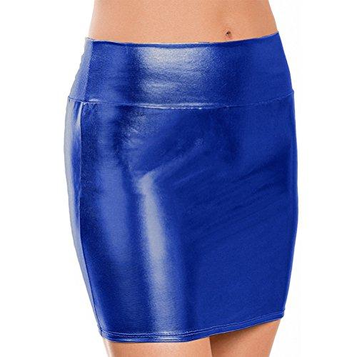 Cuir Midi Taille PVC Bleu Brillant fonc en Femmes Mtallique Femmes Jupe Regard Haute Jupe Liquide Humide Verni Brillant DiiZii Crayon Cuir PTEqH8M