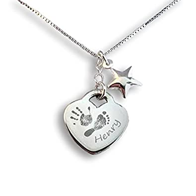 5aa6f32eb Personalised Silver Handprint Heart Charm Necklace - Capture your own baby  print / handprint / footprint: Amazon.co.uk: Jewellery