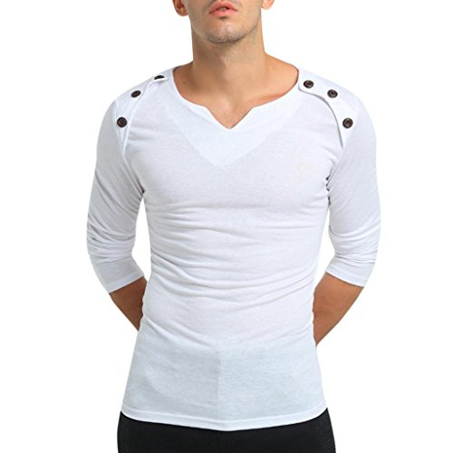 WUAI Clearance Men's Casual Pure Color Slim Fit Daily Tartan Pullover Sweatshirts Top Blouse (White, US Size M = Tag ()