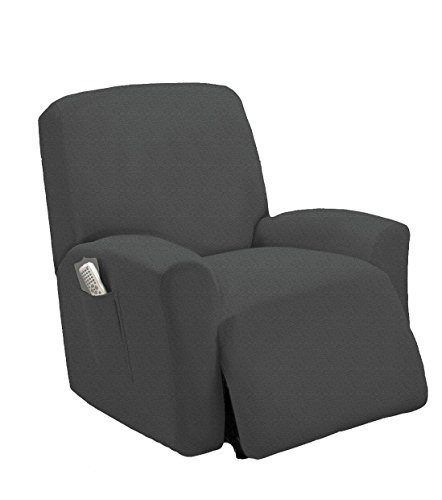 Elegant Home One piece Stretch Sterling Recliner Chair Cover Furniture Slipcovers with Remote Pocket Fit most Recliner Chairs # Stella (Charcoal/Dark Grey)