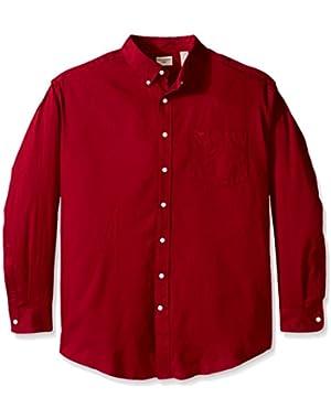 Men's Big-Tall Long Sleeve Twill Solid Button Down Collar Shirt
