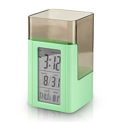 Egundo Pen Holder Desk Alarm Clock Digital Snooze Temperature Voice Control LED Backlight Timer Word Time Battery Operated Plastic Kids Clocks for Sturdy Bedrooms (Mint Green) (Date Halloween Started)