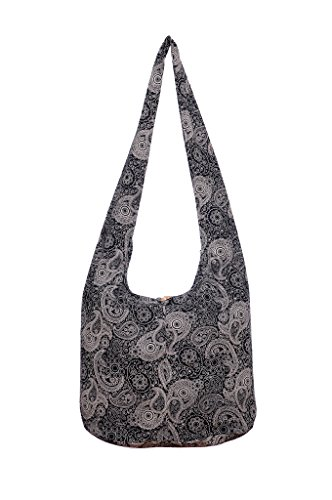 Bag Print Fabric (Avarada Thai Cotton Hippie Hobo Sling Crossbody Bag Messenger Purse Bohemian Paisley Print Black)