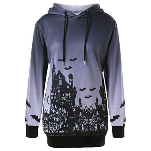 Clearance Sale Halloween Party Sweatshirt Women's Hooded Halloween Witch Bat Print Drawstring Pocket Hoodie Sweatshirt Tops (2XL, Gray)