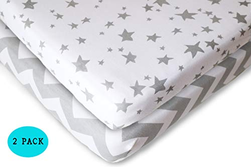 Pack N Play Fitted Sheet Set - 2 Pack - 100% Soft Jersey Cotton Pack N Play Sheets for Mini and Portable Crib - Stylish Gray Chevron/Stars Print - Perfect Playard Sheets for Baby Girl or Baby Boy