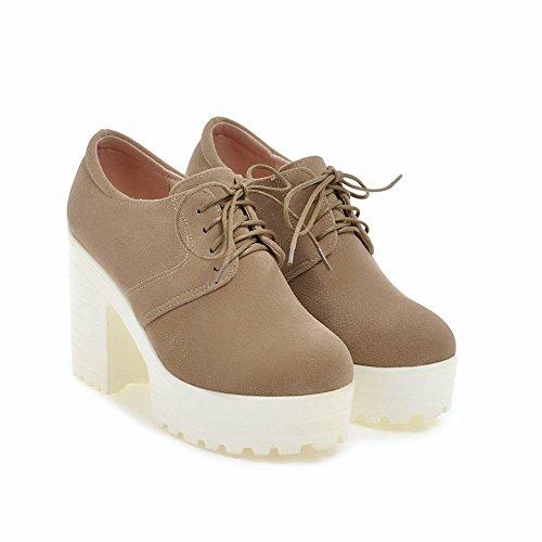 Carolbar Women's Western Concise Block High Heel Platform Ankle Boots Beige Apricot K8lYOj