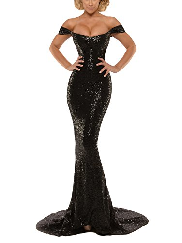 YSMei Women's Long Sequins Evening Celebrity Dress Mermaid Off The Shoulder Prom Wedding Gowns Black 16