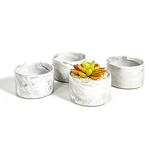 TRUEDAYS Succulent Cactus Plant Pot Marble Design Ceramic Pot, Mini 3.15