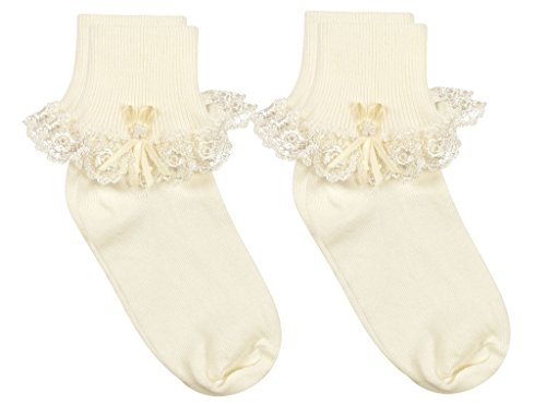 Country Kids Baby Girls' Cotton Turncuff Socks with Venice Lace and Pearl Ribbon Streamer, Pack of 2, Fits 3-12 months (shoe size 4-1.5), (Turncuff Socks)
