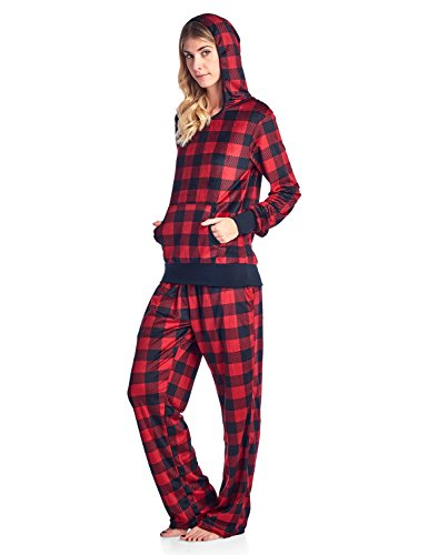 Ashford & Brooks Women's Mink Fleece Hoodie Pajama Set - Buffalo Check Black/Red - Large
