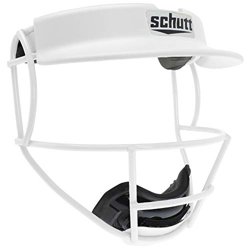 (Schutt Sports Titanium V2 Softball Fielder's Guard Varsity Faceguard with Visor, White)