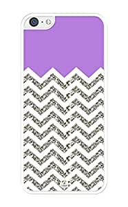 iZERCASE Chevron Pattern Purple Grey White Mixed iPhone 5C Case (NOT ACTUAL GLITTER) - Fits iPhone 5C T-Mobile, AT&T, Sprint, Verizon and International by icecream design
