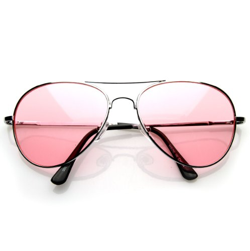 Colorful Premium Silver Metal Aviator Glasses with Color Lens Sunglasses (Pink)
