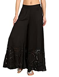 ViX Women's Solid Black Peggy Embroidered Pant Cover Up