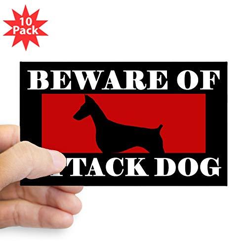 - CafePress Beware of Attack Dog Doberman Pinscher Sticker Rectangle Bumper Sticker (10-Pack), Car Decal