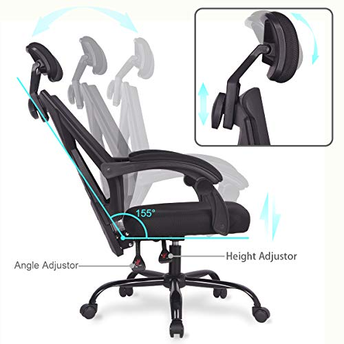 Ergonomic Home Office Desk Chair High-Back 150 Degree Reclining Swivel Mesh Computer Chair Gaming Chair with Lumbar Support Comfy Headrest and Armrest by UREST (Image #3)