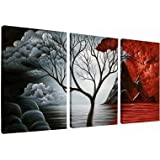 Wieco Art - The Cloud Tree Extra Large 3 Panels Modern Gallery Wrapped Giclee Canvas Prints Artwork Abstract Ocean Sea Beach Pictures Paintings on Canvas Wall Art for Living room Bedroom Home Decorations XL