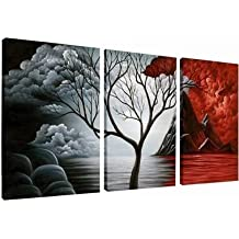 Wieco Art - The Cloud Tree Large 3 Piece Modern Stretched and Framed Giclee Canvas Prints Artwork Abstract Ocean Sea Beach Pictures Paintings on Canvas Wall Art for Living room Bedroom Home Decorations L