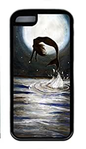 Soft Case Shell for iPhone 5C Covered with Mermaid Jumping Out of Sea,Customized Black TPU Cover Skin for iPhone 5C