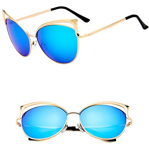 AMAZZANG-Cat Eye Sunglasses Women Fashion Oversized Frame Metal Lens Large Mirror Vintage - Steve Eyes Mcqueen Blue
