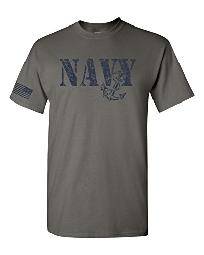 All Things Apparel United States Navy Flag on Sleeve Men's T-Shirt