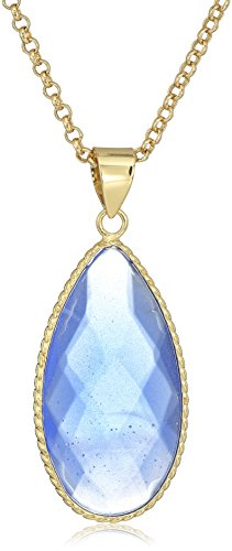 Gold Tone Blue Faceted Glass Teardrop Pendant Necklace, 30