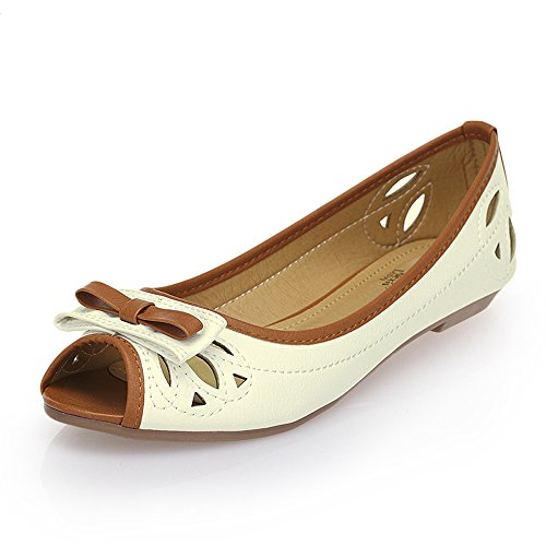 Alexis Leroy Femmes Style Simple Peep Toe Ballet Appartements Chaussures Blanc