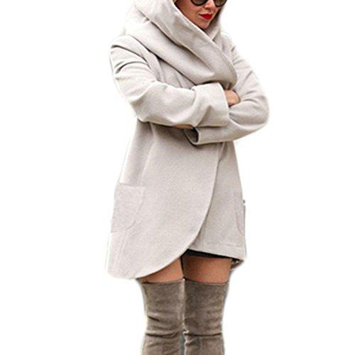 Cappotto Cappotto Parka Sciolto solido Lungo Caldo Top Hoodies Casual Grigio Coat Maniche Donna Cappotti Colore Giacca Lunghe Cappuccio Invernale Moda Asimmetrico Tops dI7ITw