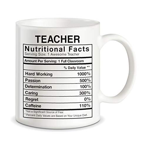 Teaching Gifts for World's Best Teachers Ever Teacher Nutritional Facts Label Classroom Decorations Funny Novelty Gag Gift Ideas Ceramic Coffee Mug Tea Cup -