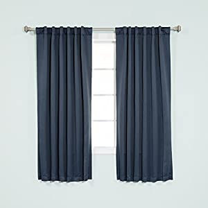"Best Home Fashion Thermal Insulated Blackout Curtains - Back Tab/ Rod Pocket - Navy - 52""W x 54""L - (Set of 2 Panels)"