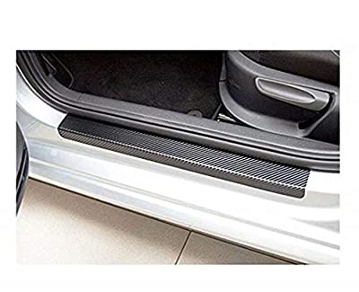 Heyuni.Car Door Sill Plate Protectors- Universal Carbon Fiber Door Sill Scuff Plate Cover Panel Step Protector Guard 4PCS