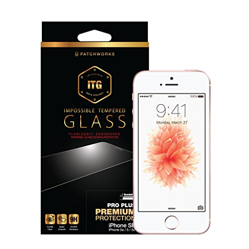 Patchwork Glass (Patchworks ITG PRO PLUS for Apple iPhone SE 5s 5c 5 - Made in Japan raw glass, Finished in Korea, Impossible Tempered Glass Screen Protector)