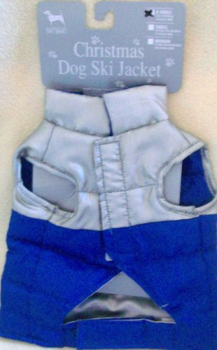 - Christmas Holiday Winter Dog Ski Jacket Blue Silver Extra Small