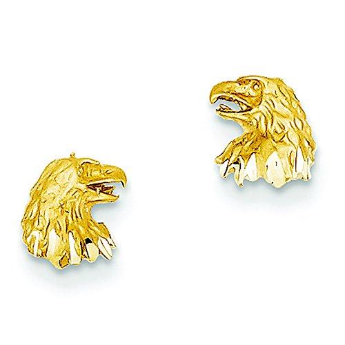 - 14K Yellow Gold Diamond-Cut Eagle Head Stud Post Earrings