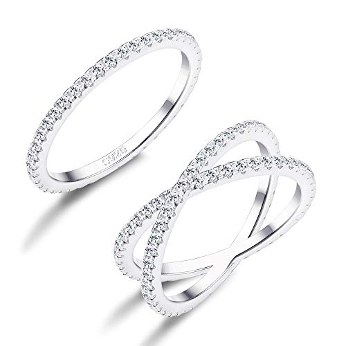 FUNRUN JEWELRY 2 PCS Sterling Silver Cubic Zirconia Rings Set for Women X Ring CZ Wedding Band Rings Stackable Size 5 by FUNRUN JEWELRY