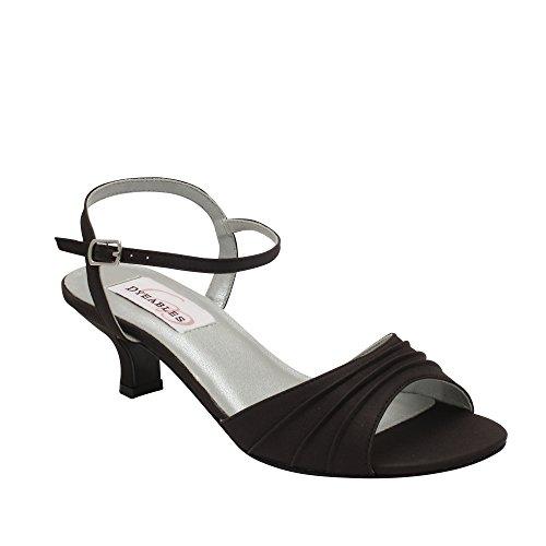 elle Ankle-Strap Sandal,Black Satin,9 M US (Dyeable Womens Heels)