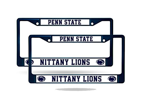 Rico Penn State Nittany Lions NCAA Licensed Navy Painted Chrome Metal (2) License Frame Set