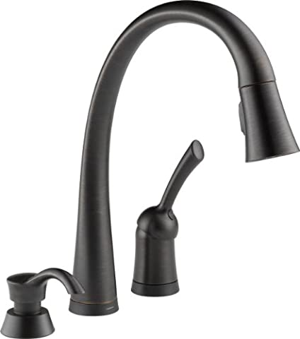 Delta 980T-RBSD-DST Pilar Single Handle Pull-Down Kitchen Faucet with Touch2O Technology and Soap Dispenser, Venetian (Pulldown Faucet Delta)