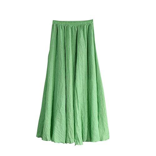 MISSMAO Jupe Femme Longue Casual Jupe Plisse Confortable pour Quotidien Porter Danse Voyager lastique Vert