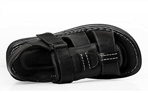 Mobnau Mens Läder Mode Gå Strandsandaler Svart