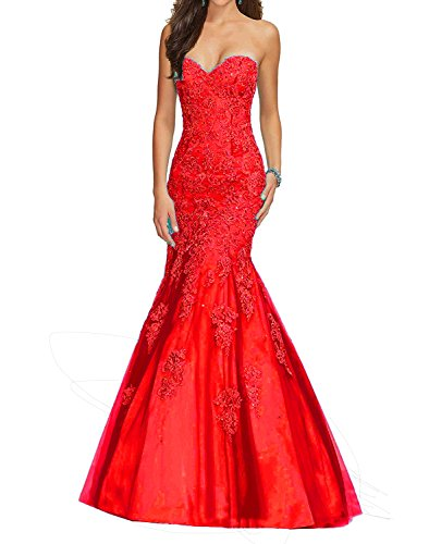 Pettus Women's Sweetheart Strapless Ball Gown Mermaid Formal Evening Dress Lace Prom Dress Long 2017
