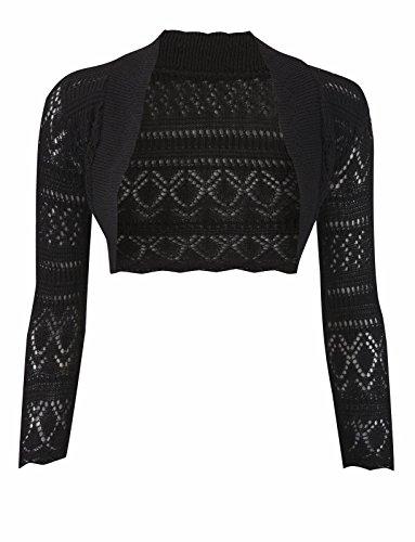 Janisramone Bolero de manga larga para mujer, de crochet negro