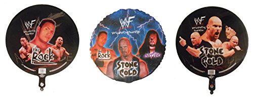 3 WWF Mylar 18'' Balloons - The Rock, Stone Cold & Undertaker by WWE