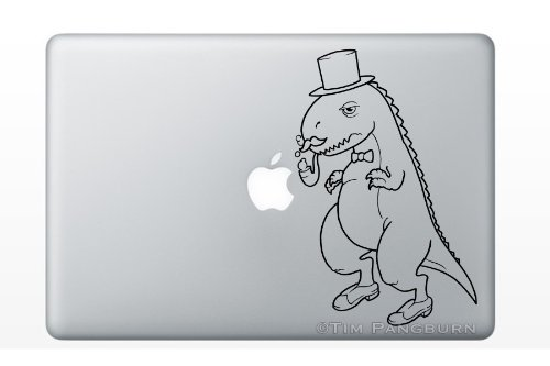 d45d84841fb6c Fancy Dinosaur with Mustache Bubble Pipe and Top Hat MacBook Laptop Vinyl  Decal Sticker Black TRex Lizard Reptile Jurassic Park Children Kids Baby  Boys ...