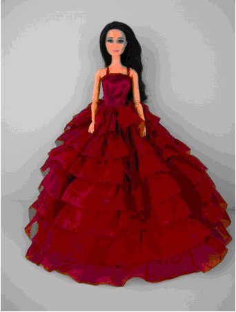 Lanlan A Deep Red Gown with Layers of Ruffle Details Made to Fit the Barbie Doll
