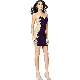JVN by Jovani Womens Applique Illusion Semi-Formal Dress Purple 2