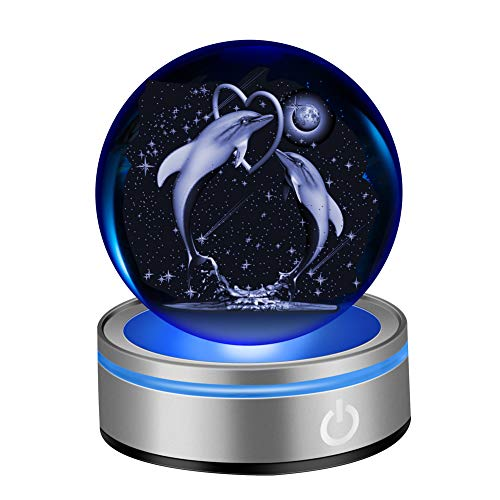 IFOLAINA 3D Dolphin Crystal Ball 80mm 3.15″ Laser Engraved Porpoise Model Decoration Ball Anniversary Paperweight in Home and Office Gift for Birthday Kids Teens Lovers Parents