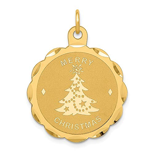 Solid 14k Yellow Gold Merry Christmas Disc Charm Pendant (29mm x 22mm)