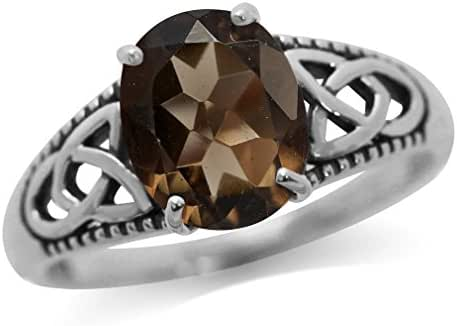 2.52ct. Natural Smoky Quartz White Gold Plated 925 Sterling Silver Triquetra Celtic Knot Ring